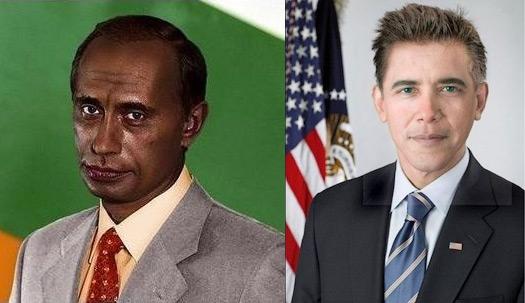 Путин черный, Обама белый