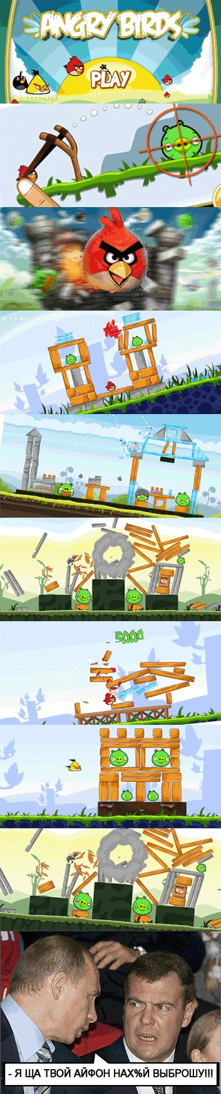 Angry Birds. Путин и Медведев